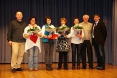 Ehrung Turnen: Detlev Meixner, Uschi Schweder, Ute Wörner, Christel Weber, Ingrid Höfert, Herr Wissmann, Josef Hochstatter