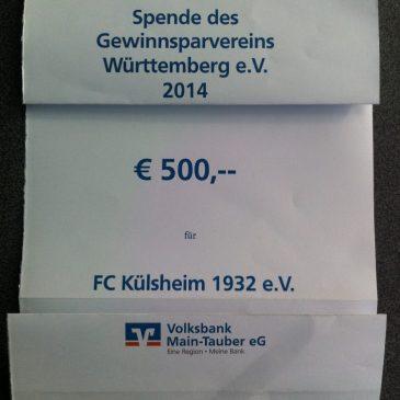 Scheckübergabe der Volksbank Main-Tauber – 500 Euro für FC